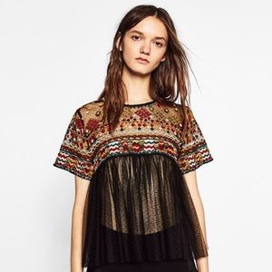 Zara Embroidered Tulle Blouse Black. Size: Small